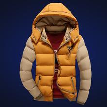 2016 Thick Fashion Patchwork Zipper White Black Red Khaki Yellow Winter Autumn Winter Jacket Men Parkas Hombre Invierno Hot(China (Mainland))