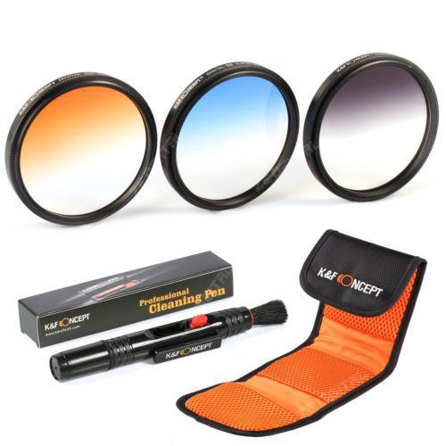 3PCS 67mm Graduated Color Grey Blue Orange Lens Filter Kit For Nikon A F-S VR 70-300mm f/4.5 Digital Camera(China (Mainland))