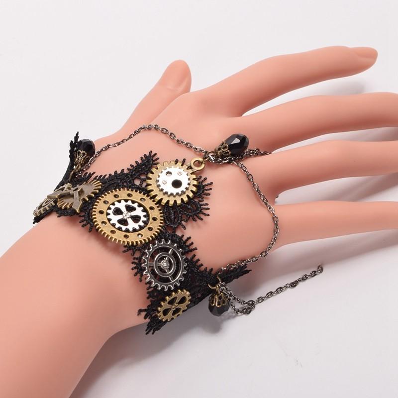 1pc Girls Steampunk Gears Lace Bracelet Gothic Punk Vintage Bracelet