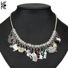 Buy Epacket Alice Wonderland choker necklace Maxi Punk Type Women Short Necklaces Hat Drink key Fashion Accessories Gift for $3.04 in AliExpress store