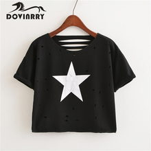 Buy New Hole T-shirt Women Casual Printed T shirt Female Short Sleeve O-Neck Tshirt Brand Clothing Cotton Top Tees Fashion Fitness for $8.99 in AliExpress store