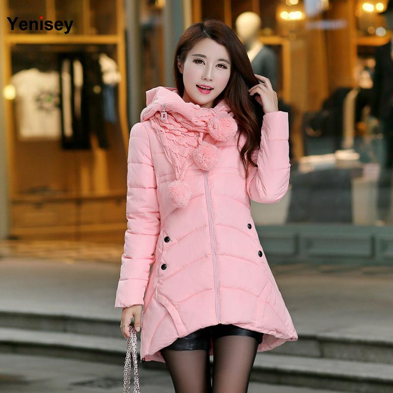 Womens Winter Jackets And Coats 2016 New Winter Coat Female Parka Women Korean Scarf Dress Long Thick Jacket 0709(China (Mainland))