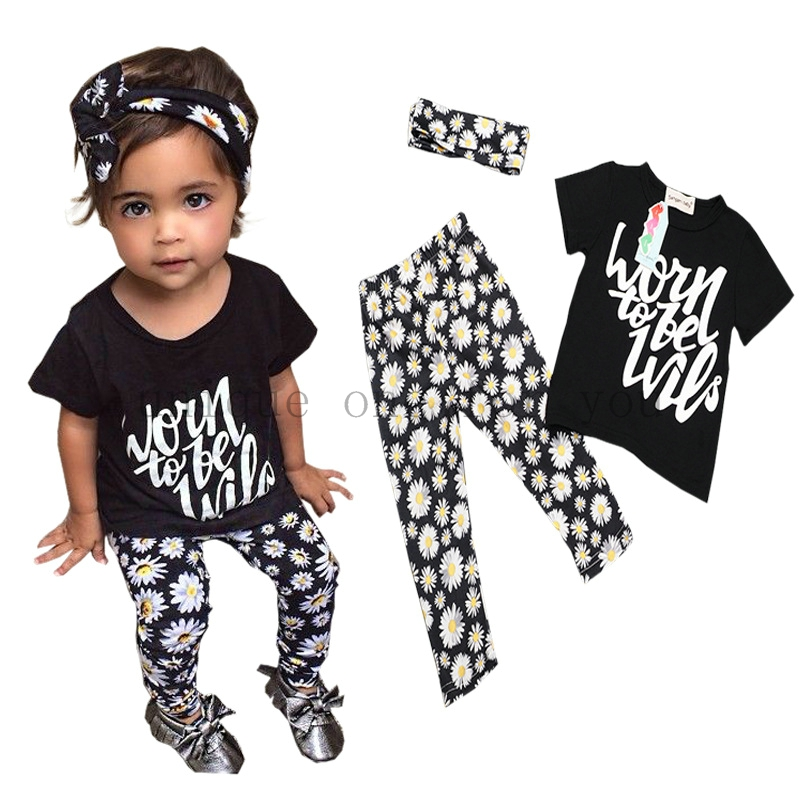 New summer baby girls clothes letter pattern t-shirt + flower chrysanthemum pants baby suit for baby kids girls clothing sets(China (Mainland))