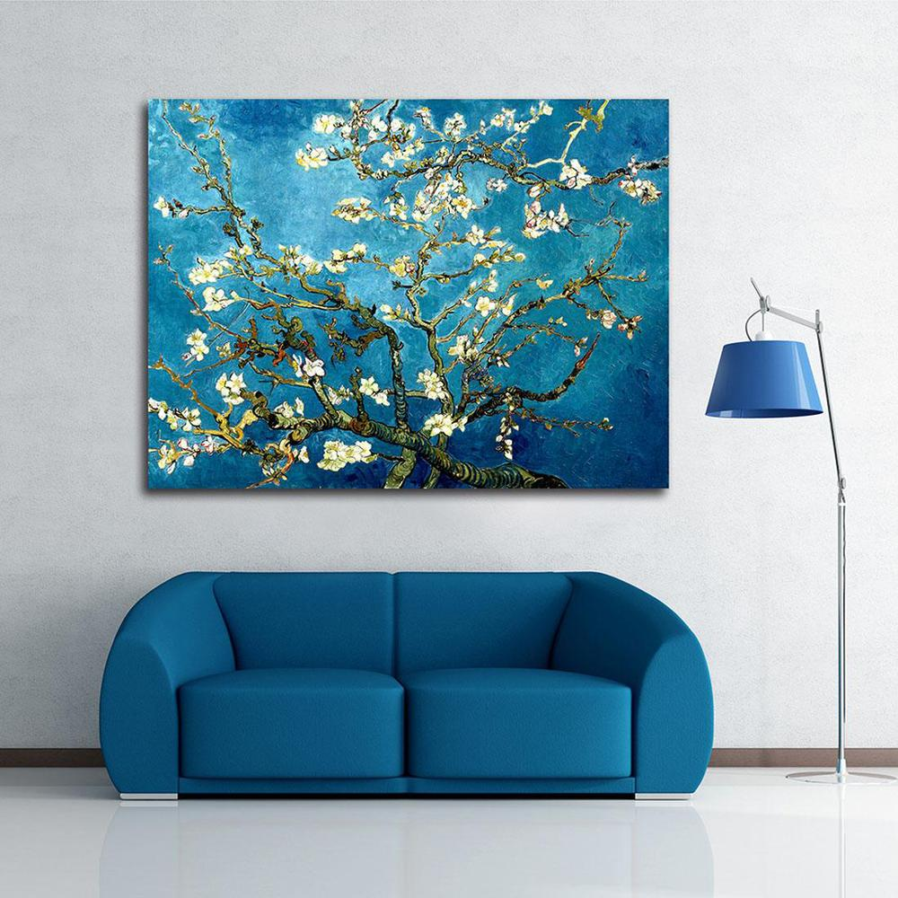 Wall Art Canvas Blossoming Almond Tree By Van Gogh Oil Painting Printed On Canvas Home Decor(China (Mainland))