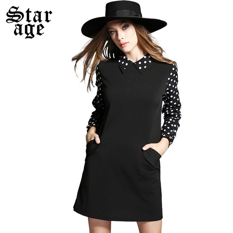 XL-5XL Ladies Big Size Polka Dot Print Short Dress 2015 Autumn Long Sleeve Knee Length Dresses Plus Size Women Clothing 2015(China (Mainland))