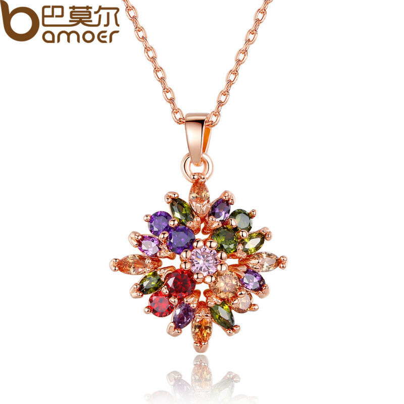 Bamoer Fashion 18K Real Gold Plated Rhombus Necklaces Pendants with Colorized AAA Cubic Zircon For Women Birthday Gift SDSN025(China (Mainland))
