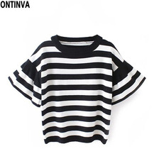 2016 Autumn Woman Pullover White and Black Striped Womens Sweaters Cute Ruffle Sleeve Pull Femme Knitted Sweaters Ladies Tops(China (Mainland))