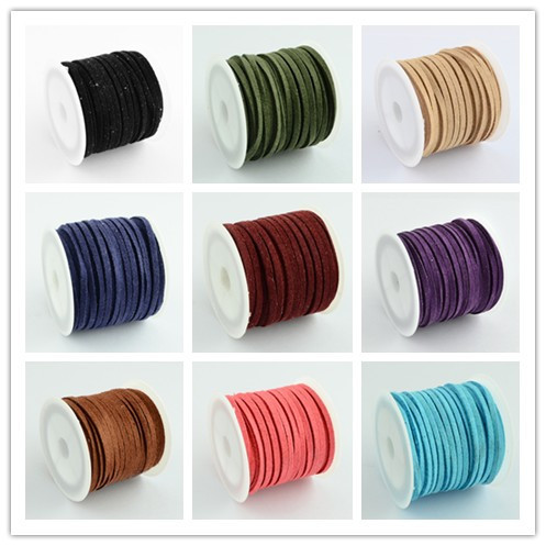 Promotion 3x1.5mm mixed color Faux Suede Cord Leather Lace For Clothes Shoes Jewelry Making Findings about 5m/roll(China (Mainland))