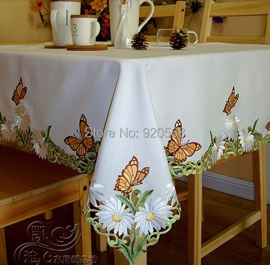 2014 new free shipping hot sale embroidered tablecloth for Home decor sales online