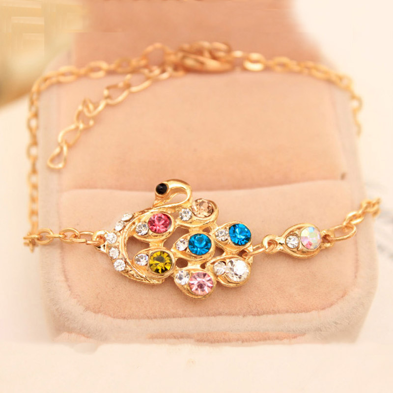Women Trendy Handmade Fashion Jewelry Accessories Chain Bracelet Shiny Colorful Stone Swan Bracelets Bangles pulseras Wedding(China (Mainland))