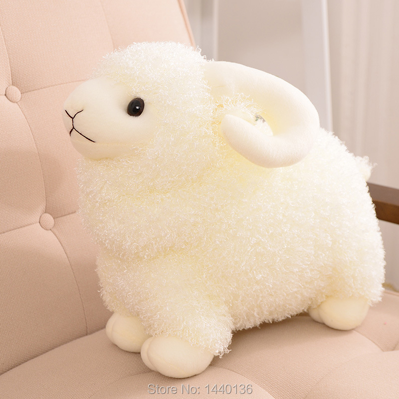 2014 New Lovely White Goat Plush Toy Soft Gift Doll 35cm(high:25) Christmas Gift Free Shipping(China (Mainland))