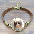 5 Style Cute Cat Glass Cabochon Art Picture Bracelets Bangles Vintage Brown Rope Charm Bracelets for