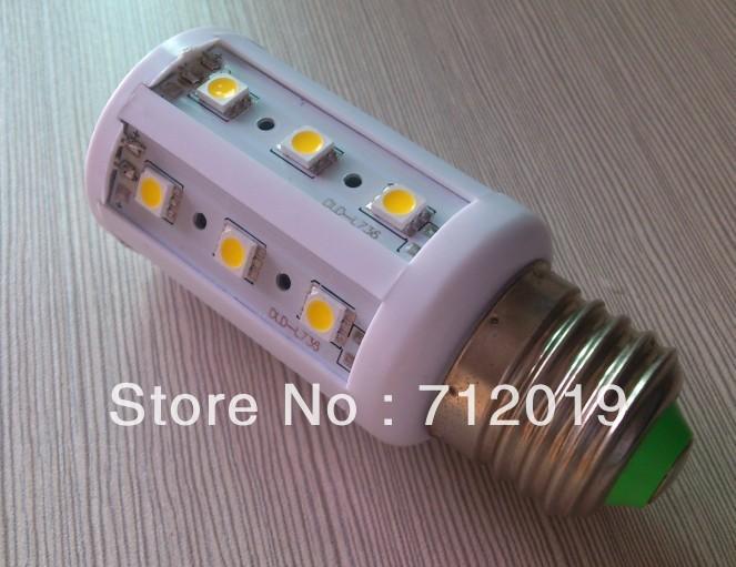 110v-240v dimmable 10pcs/lot Free Shipping high power 5W 5050 SMD E27 B22 E14 LED light Bulb Corn lamp Cool/Warm White(China (Mainland))
