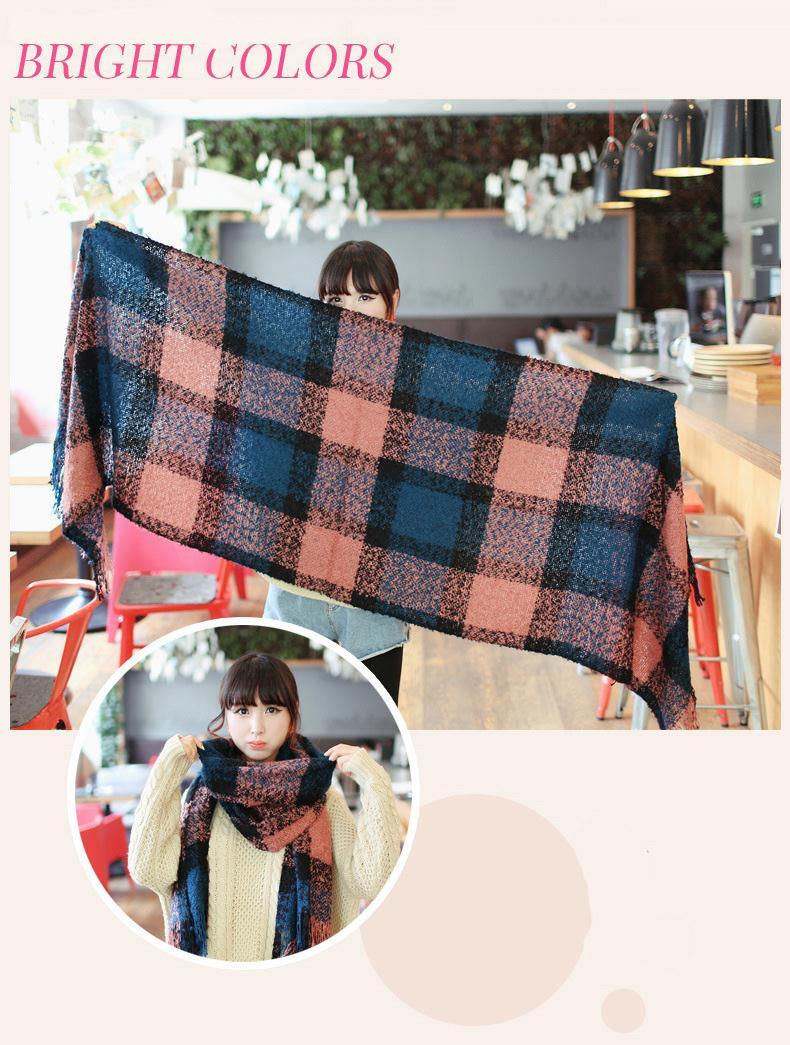 Winter Female Scarves Thicken Fashion Wraps Mohair Khaki Plaid Keep Warm Casual Fleece Bufandas Super soft Scarf J015