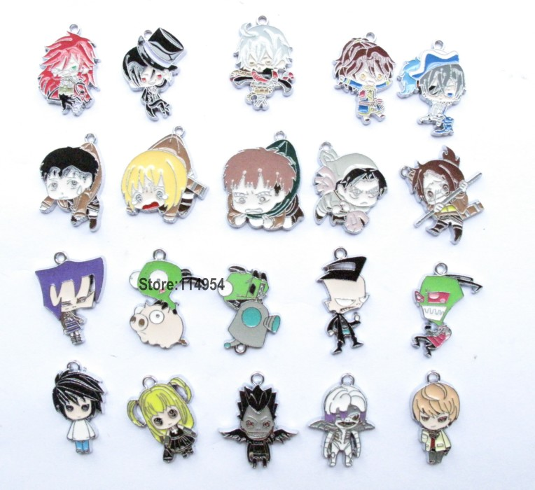Free shipping 100 Pcs Mix Invader ZIM&Death Note&Attack on Titan&Black Butler Metal Charms Jewelry Making Pendants Earrings M029(China (Mainland))