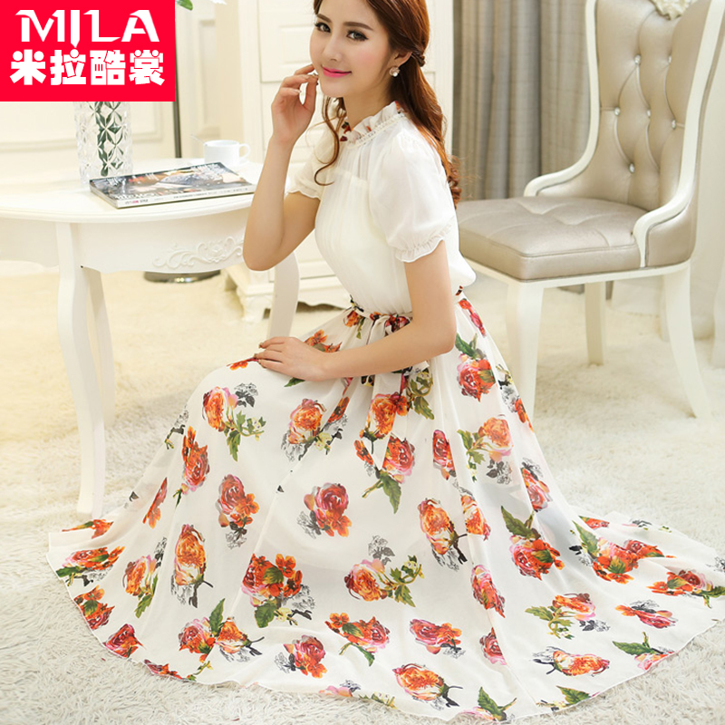 Free shipping printed couture fashion lady posed chiffon dress with short sleeves(China (Mainland))