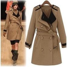 2014 autumn winter fashion female/women's woolen outerwear/overcoat/jackets/trench free shipping
