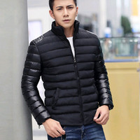 Stand collar jacket men spell leather men's cotton jackets men  thick cotton-padded jacket warm winter jacket free shipping
