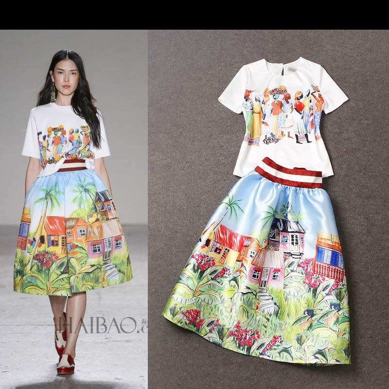 2015 Spring Summer 2 Piece Set Women Two Piece Outfits Tropical Print High Waist Skirt Midi ...