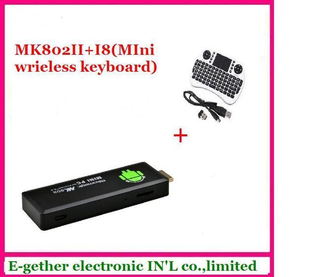 hot sale for Rikomagic MK802 II Mini  PC Android TV Box A10 Cortex A8 1GB RAM 4G ROM HDMI TF Card +i8 wireless mini keyboard