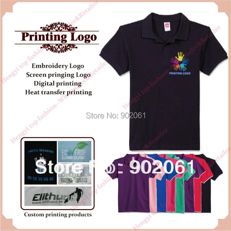 professional design Custom logo embroidery logo / screen printing/digital logo womens mens polo shirts 100% cotton XXXL HY(China (Mainland))