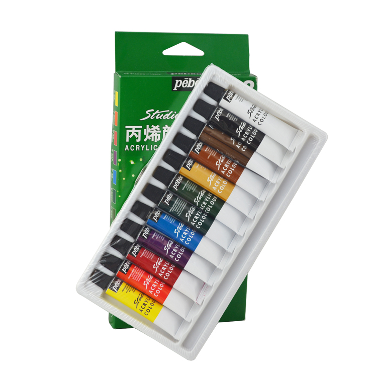 Pebeo brand 12 colors acrylic paints fine hand decorated for Acrylic mural paint supplies