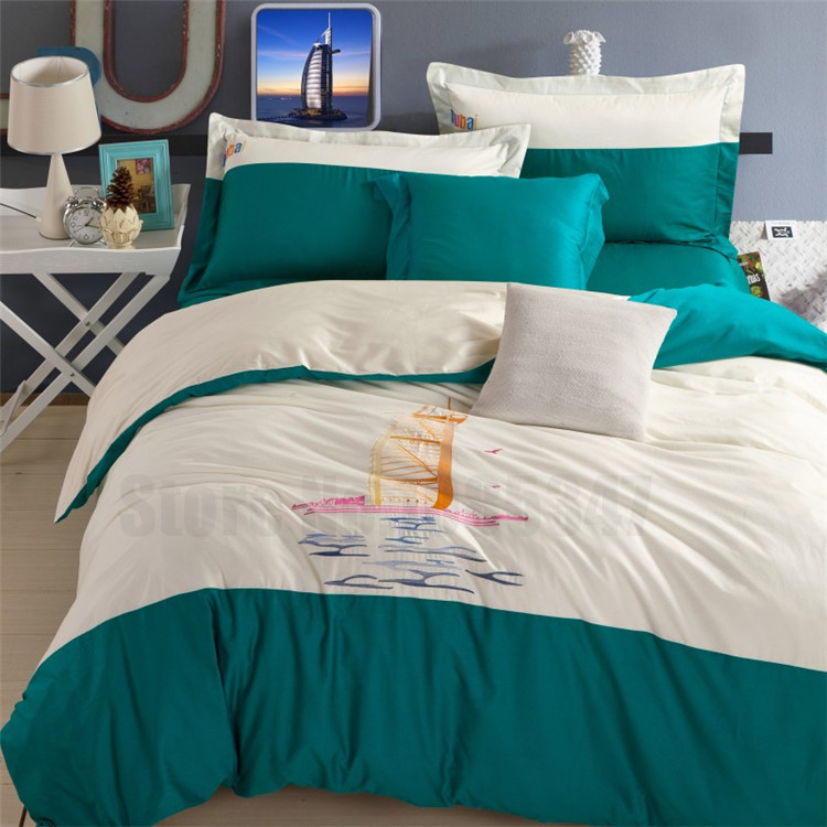 Cartoon Dubai Lugger Hotel King Queen 4 pcs egyptian cotton bedding set embroidered patchworks duvet cover set bed linens QX(China (Mainland))