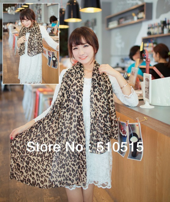 Free Shipping Infinity Silk Cotton Sweet Women Apparel Accessories Wrap Shawl Blend Leopard Print Scarf(China (Mainland))
