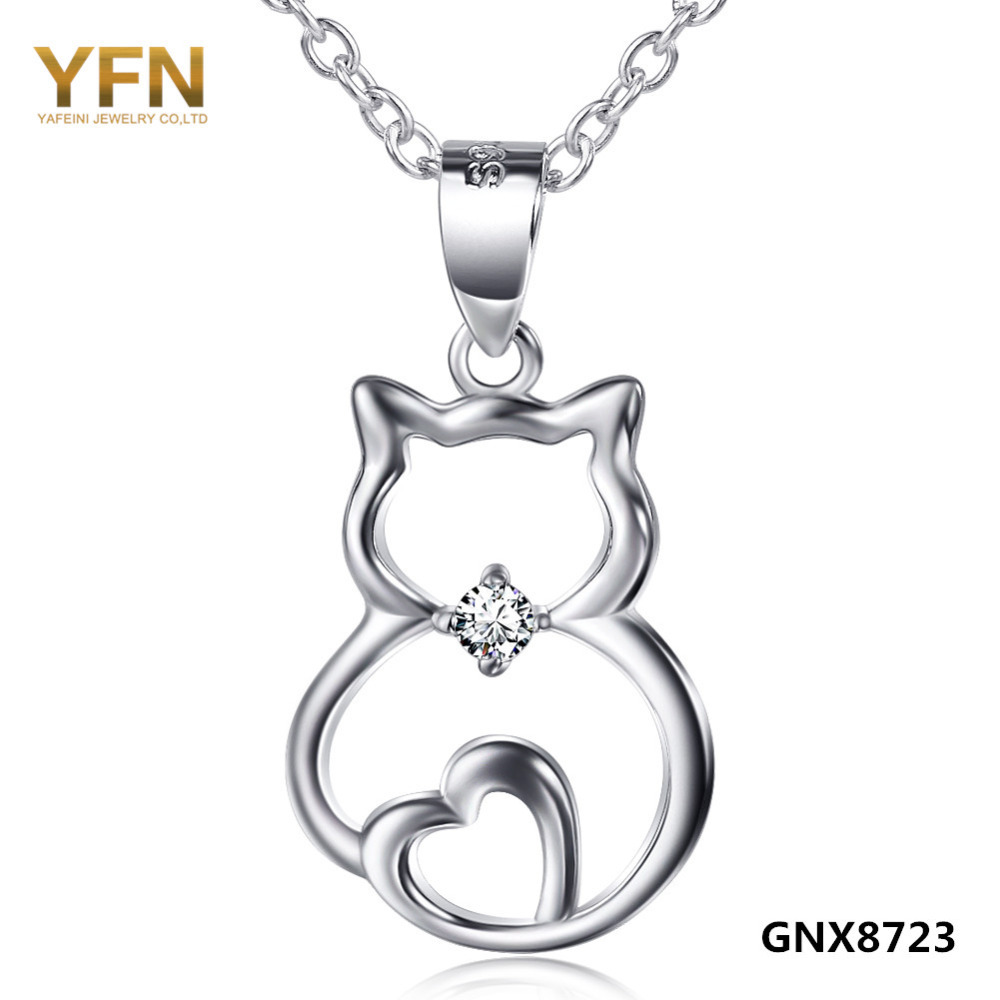 GNX8723 100% Real Pure 925 Sterling Silver Sitting Cat Pendant Necklace Fashion Jewelry CZ Crystal Heart Necklace For Women(China (Mainland))