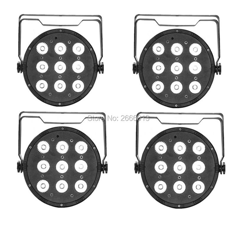 4 pcs/lot LED Par 9x12W 4in1 RGBW LED Stage effect Light LED Flat Slim Par Quad Can DMX512 Flat DJ led equipments