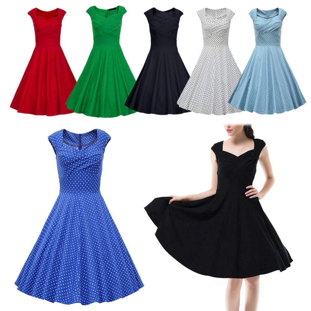 Hot New 2015 Summer Women Casual Dresses Retro Party Robe Rockabilly 50s Black Vintage Dress Plus Size Vestidos Cheap Z1Одежда и ак�е��уары<br><br><br>Aliexpress
