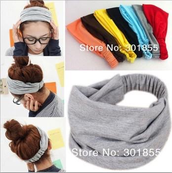 2015 New Fashion Elastic Hair Bands Accessory Fashion Headband Bandanas Scarf Colorful Sport Wide Hair Accessories Summer Style