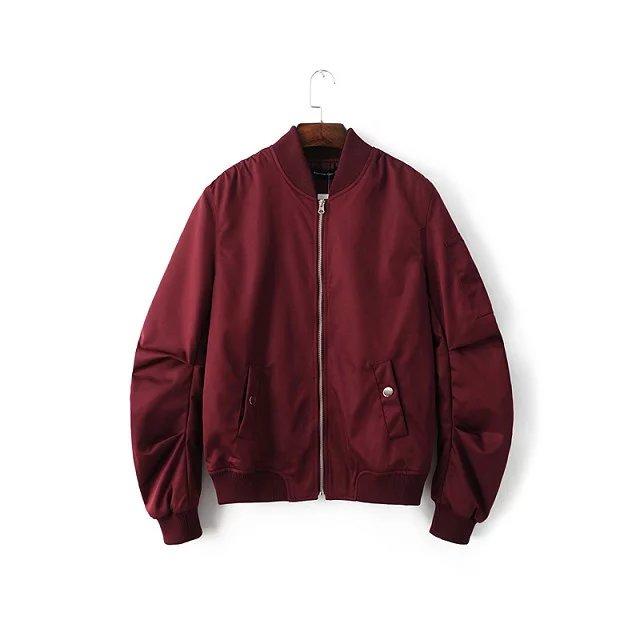 2016 Spring Autumn Mens Solid Flight Wine Red Bomber Jacket Men's Rib Sleeve Zipper Short Air Force Baseball Coats Clothing - FAST&FASHION store