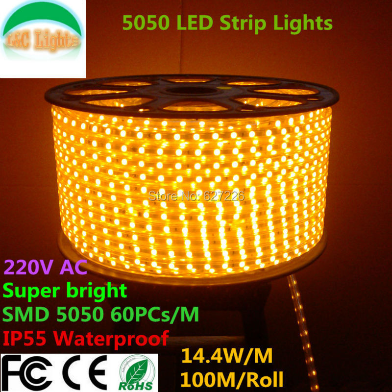Free Shipping 100M/Roll SMD 5050 High-voltage Outdoor LED Flexible Strip CE RoHS Decoration Lighting 10M a lot Equipped adapter(China (Mainland))