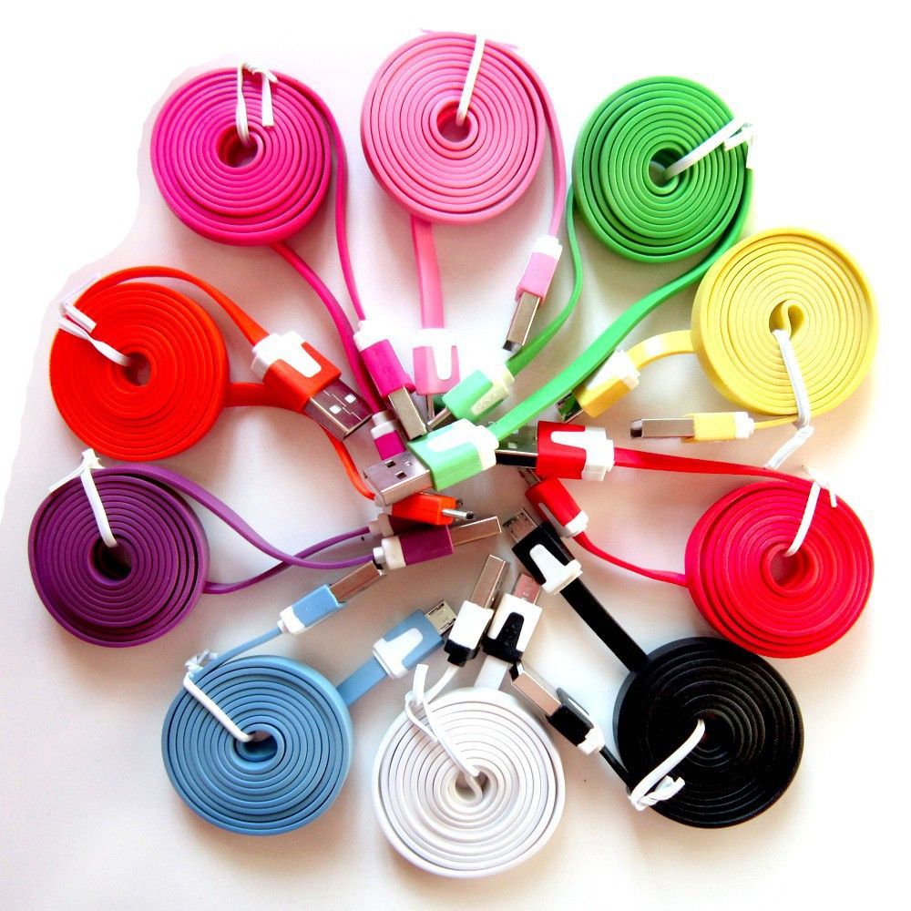 10pcs/lot Colorful noodles cable Flat Micro Usb Sync Data & v8 micro usb data lines For Samsung S3 S4 for HTC For Android phones(China (Mainland))
