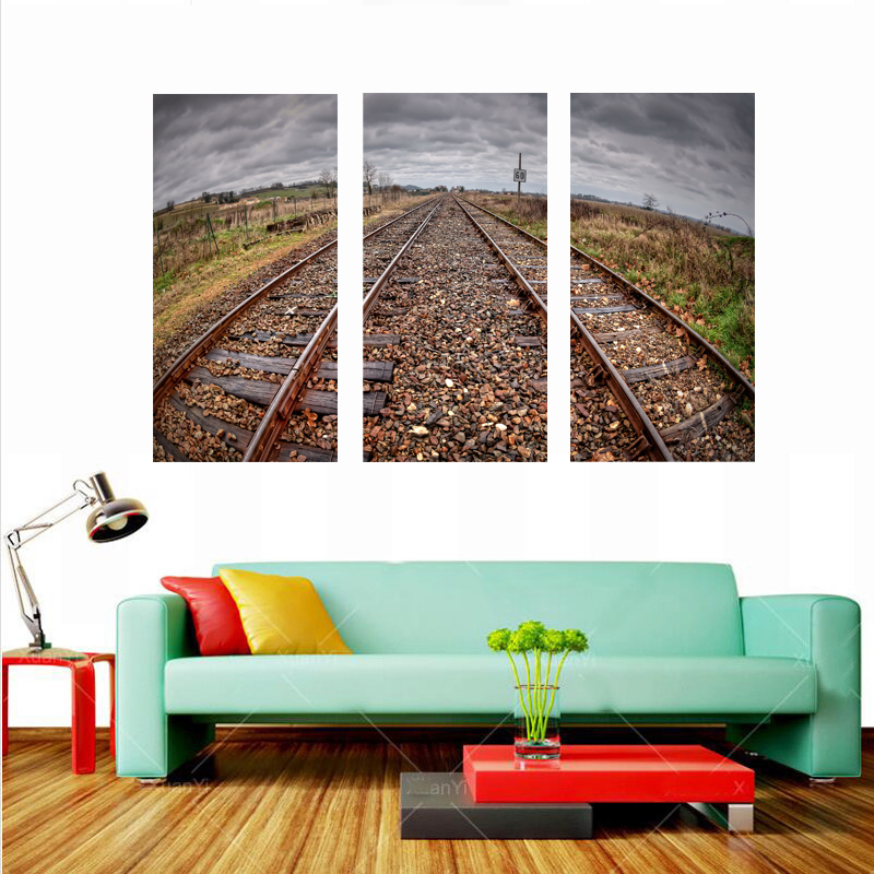 Railway Picture printed on canvas (No Frame) Modern Art Pictures Wall decor Painting Home Decorative Prints Picture NO FRAME(China (Mainland))