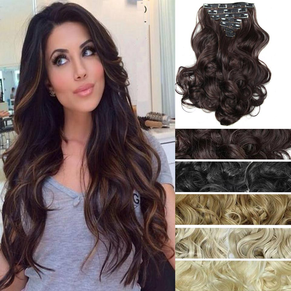 20inch 7pcs/Set Curly Wavy Hair Weave Natural Synthetic Hair Extensions Hairpieces artificial Hair Clip In Curly Hair Extensions(China (Mainland))