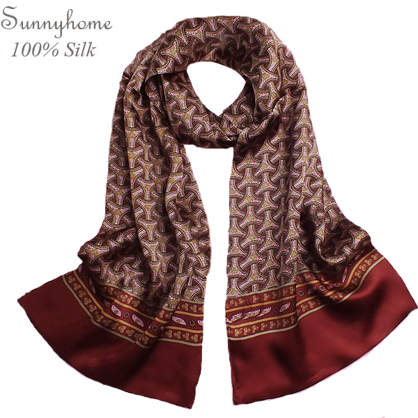 Scarf Famous Brand 100% Pure Silk Scarves for Men Shawl Winter Fashion British Style Wine Red Plaid Long Scarfs Mens Scarf(China (Mainland))