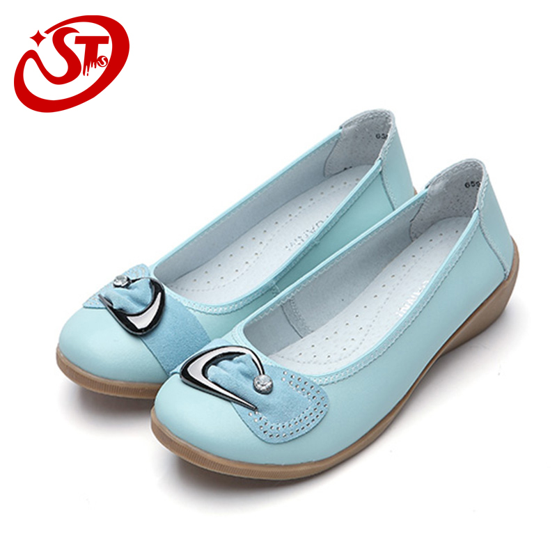 2015 summer flats shoes leather soft