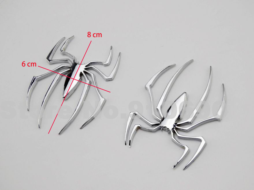 Motorcycle Fairing Chrome Metal 3D Spider 3M Fairing Decal Stickers Fuel Tank Emblem Badge Custom Part DIY Decoration Car Truck(China (Mainland))