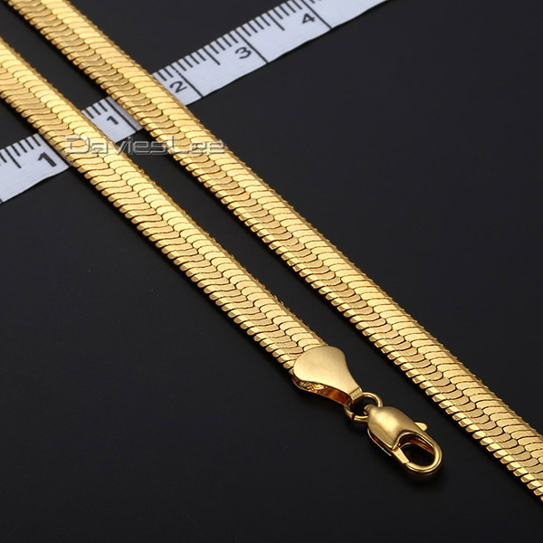 Fashion COOL 4/5.5/9mm Herringbone Mens Chain SNAKE Womens necklace 18K Gold Filled Jewelry Gift Party Daily Wear DLGN124(China (Mainland))
