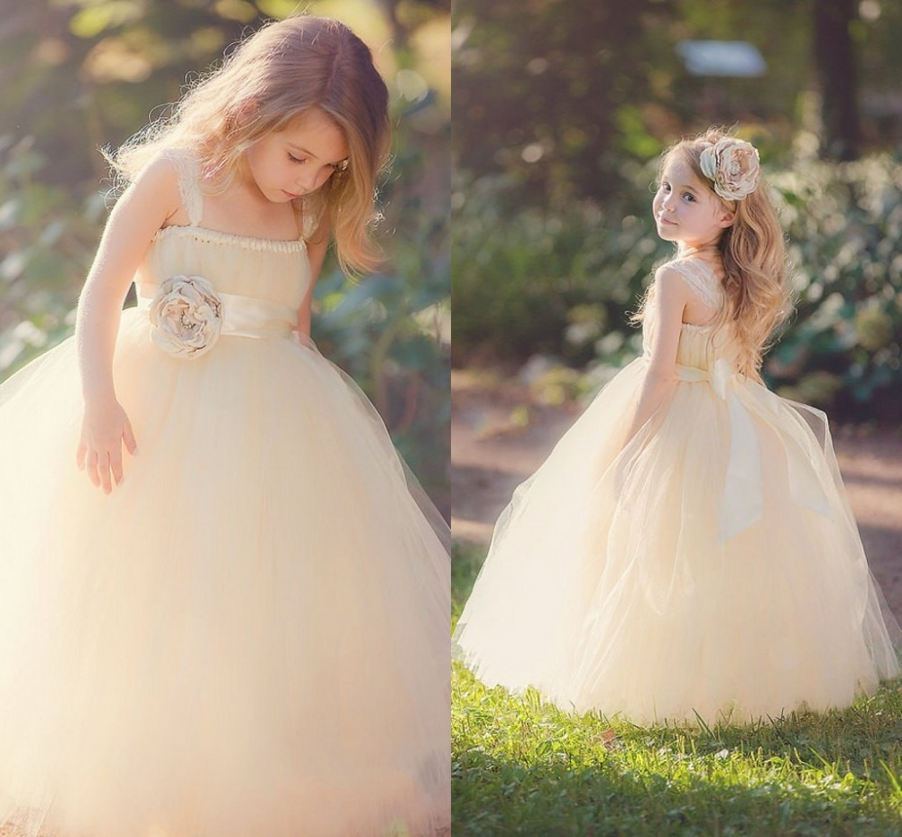 New Hot Sale Straps Sweetheart Strapless Flower Tulle Flower Girl Dresses Ball Gown Size 2 3 4 5 6 7 8 9 10 11 12 13 14 F227(China (Mainland))