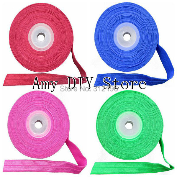 Free Shipping!10yards/lot New Arrival Baby Girls Fold Over Elastic 5/8Inch FOE Girl DIY Stretchy Shiny Band For Hair Accessories(China (Mainland))
