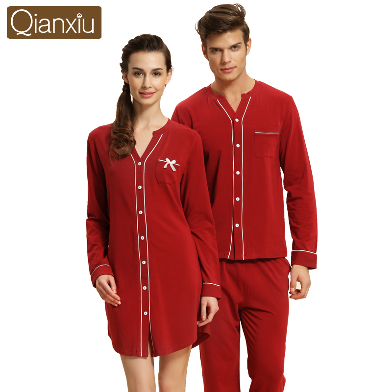 Qianxiu Brand Autumn Couple Pajamas Sets Long Sleeve Women Cotton Pyjamas Pijama Sleepwear Ladies Nightgowns Lounge Shirt & Pant(China (Mainland))