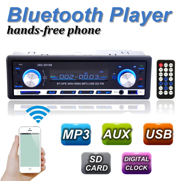 2015 Brand New 12V BLUETOOTH 1-Din Stereo Radio MP3 USB/SD AUX Audio Player Car in Dash 60Wx4 for phone(China (Mainland))