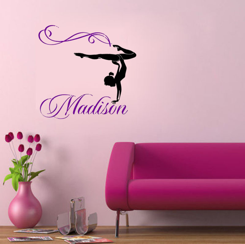 Personalized girl name gymnast gymnastics dance dancing for Gymnastics wall decals