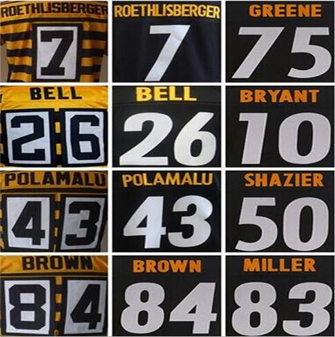 7 Ben Roethlisberger shirts jersey 43 Troy Polamalu 26 leveon bell 84 Antonio Brown 12 Terry Bradshaw 75 joe greene jerseys(China (Mainland))