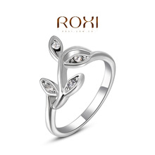ROXI foreign trade exclusively for professional Famous jewelry wholesale Austrian crystal jewelry gold diamond ring leaves