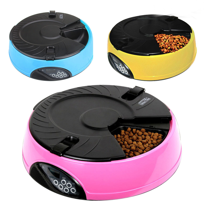 6 Meal LCD Digital Automatic Pet Dog Cat Feeder Recorder Bowl Meal Dispenser(China (Mainland))