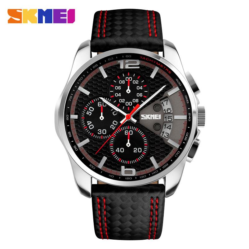SKMEI Men Chronograph Watch Men Sport Watch Leather Silver Case 5ATM Waterproof Date Luxury Business Watch relogio masculino<br><br>Aliexpress